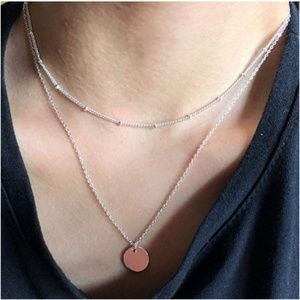 Jewelry - Silver Disc Line Layered Necklace